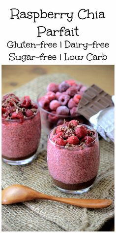 My PCOS Kitchen - Paleo Chocolate Raspberry Chia Parfait - These low carb chia puddings are topped over some homemade sugar-free nutella and fresh strawberries.