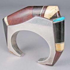 Cuff | Charles Loloma.  Sterling silver, iron wood, ebony, ivory, turquoise.