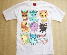 All Eeveelutions tshirt  Pokemon  by linkitty on Etsy, €17.00