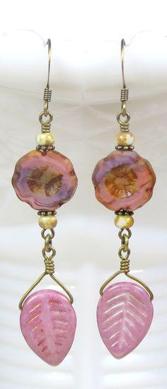 Pink and Purple Czech Glass Beaded Flower Dangle handmade Earrings, Earthy Botanical Floral inspired jewelry.