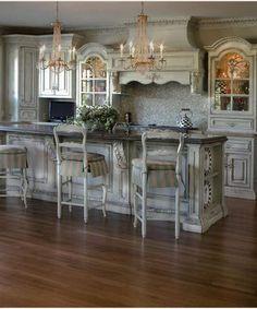 75 French Country Style Kitchen Decorating Ideas - spaciroom com Country Kitchen Designs, French Country Kitchens, Kitchen Country, French Country Bar Stools, Country Décor, Modern Country, Country Primitive, Küchen Design, Layout Design