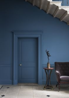 Walls & Trim in Blue Blood 668 #paint #ideas #home #decor #bright #blue #stairs #hallway