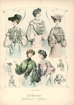 Shirtwaists and hats, Dutch Edwardian fashion plate 1903, De Gracieuse