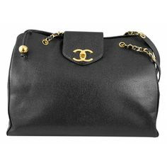Chanel Black Caviar Leather Jumbo XL Weekender Shopping Tote Bag