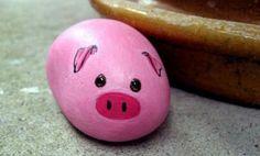 exemple de galet peint en rose, petit cochon décoratif, projet d activité créative enfant maternelle