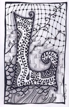 Zentangle Letter L Zebra Letters name bunting door ForeverTangles Art Doodle, Doodle Art Letters, Doodle Art Journals, Doodle Lettering, Hand Lettering, Zentangle Drawings, Doodles Zentangles, Zentangle Patterns, Doodle Drawings