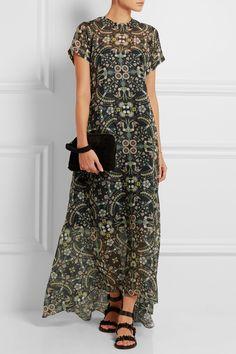Biyan | Alison linen-paneled printed silk-organza maxi dress | NET-A-PORTER.COM