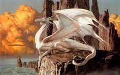 Un majestueux dragon blanc