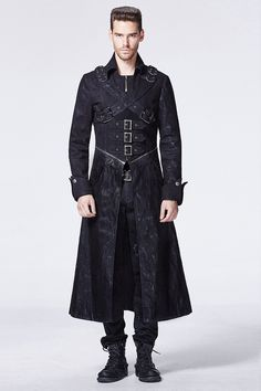 Black Leather Military Long Trench Coat for Men | Goth Looks ...