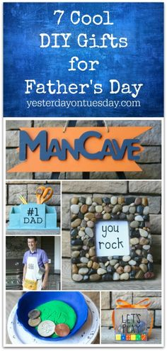 7 Cool DIY Gifts for Father's Day including a Man Cave Sign, Grilling Apron, You Rock frame and more. father's day | gifts | apron | frame | dad