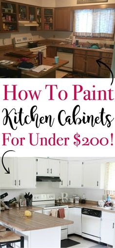 A $200 DIY painted kitchen cabinets with step-by-step instructions! A beautiful before and after gallery of photos!