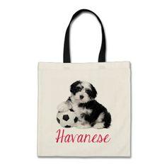 Love Havanese Puppy Dog Canvas Totebag