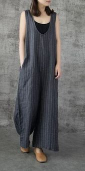 Vintage Striped Wide Leg Linen Overalls Women Jumpsuits For Women Vetement Hippie Chic, Suspenders For Women, Overalls Women, Type Of Pants, Apron Dress, Striped Linen, Linen Dresses, Jumpsuits For Women, Fashion Jumpsuits