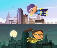 Kids superhero two flat horizontal banners with cartoon boy and girl figurines dressed in cloaks and masks and flying above town skyscrapers vector illustration. Editable EPS and Render in JPG format action Vector Design, Graphic Design, Free Banner, Superhero Kids, Cartoon Boy, Beautiful Book Covers, Banner Vector, Vector Photo, Anime Comics