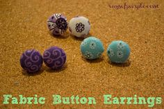 Rays of Purple: Fabric Button Earrings