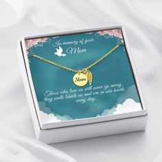 This necklace is a heartfelt gift to show your support for someone that has recently lost their mother. The necklace is available is silver and gold with prices starting at $39.95. The message card says: those who love us will never go away, they walk beside us and are in our hearts every day. #mothermemorialnecklace #mommemorialgift #remembermomgift Memorial Messages, Memorial Gifts, Love Lily, In Memory Of Dad, Message Card, Working Moms, Black Enamel, Lobster Clasp, Beautiful Necklaces