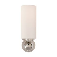Visual Comfort Lighting TOB2380PN-NP Thomas O'Brien Bijon Sconce in Polished Nickel with Natural Paper Shade