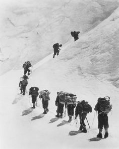 Sir Edmund Hillary and fellow climbers, on Mount Everest in 1953 during the first credited ascent to the mountain peak. (New York Times).  The Big Picture 29/5/13  60yr anniversary