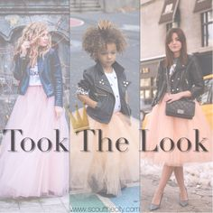 Mini fashion blogger showing off her tulle and leather look with two other bloggers. Scout the entire look on the blog now.