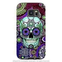 Purple Sugar Skull Galaxy S7 Case - Sugar Skull Sombrero Night - Paisley Sugar Skull S7 Tough Case