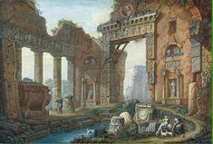 """Ruins from the Ancient Baths in Nîmes"" Charles-Louis Clérisseau - Artwork on USEUM Renaissance Kunst, Architecture Old, Classical Architecture, Fantastic Art, Ancient Art, Art Google, Painting Inspiration, Fantasy Inspiration, Watercolor Paintings"