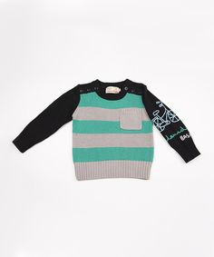 Take a look at this Black & Teal Stripe Bicycle Sweater - Infant, Toddler & Boys on zulily today!