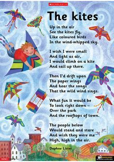 This poem, by Daphne Lister, will catch the imagination of children as they become engrossed – wishing they, too, could fly in the air like a kite. Preschool Poems, Kids Poems, Preschool Age, Preschool Activities, Fun Poems, Kindergarten Poems, Halloween Activities, Nursery Rhymes Poems, Poems About School