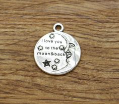10pcs I Love You to the Moon and Back Charms by lovefinding