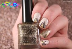 Awesome Nude & Golden Triangle Studs Nails : http://cocosnailss.blogspot.com/2014/11/polishers-inc-nudetude.html