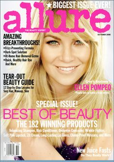 Magazine photos featuring Ellen Pompeo on the cover. Ellen Pompeo magazine cover photos, back issues and newstand editions. Allure Beauty, The Allure, O The Oprah Magazine, List Of Magazines, At Home Hair Removal, Ellen Pompeo, Beauty Guide, Covergirl, Juice
