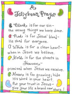 jellybean prayer - Love this idea.  Hope I can find white jellybeans.