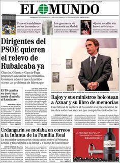 Los Titulares y Portadas de Noticias Destacadas Españolas del 8 de Noviembre de 2013 del Diario El Mundo ¿Que le pareció esta Portada de este Diario Español?