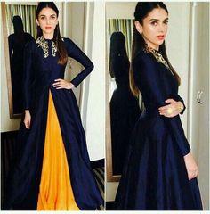 nice Aditi Rao Hydari looks elegantly gorgeous in a navy blue jacket and yellow lehen...
