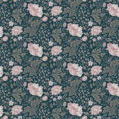 Wallpaper Ava Green/Turquoise/Blue // Kubel dark blue is a new colourway of Sandbergs classic. A large patterned floral wallpaper that works well Dark Blue Wallpaper, Trendy Wallpaper, Blue Wallpapers, Flower Wallpaper, Wall Wallpaper, Sandberg Wallpaper, Classic Wallpaper, Wallpaper Ideas, Ava Green