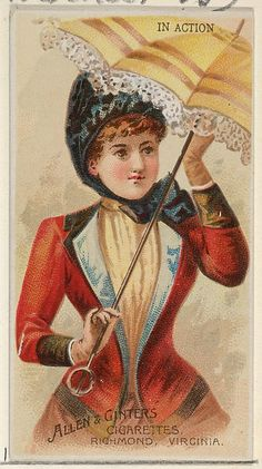 In Action, from the Parasol Drills series (N18) for Allen & Ginter Cigarettes Brands, 1888. The Metropolitan Museum of Art, New York. The Jefferson R. Burdick Collection, Gift of Jefferson R. Burdick (63.350.201.18.6)