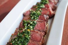 Argentinian Steaks with Chimichurri Sauce | cured by bacon Entree Recipes, Meat Recipes, Cooking Recipes, Yummy Recipes, Weeknight Recipes, Chicken Recipes, Recipies, Yummy Food, Meals