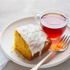 Carrot Ginger Tea Cake with Lime Glaze | Taking a cue from our favorite juice bar combos, this dense, not-too-sweet cake gets loads of moistness from both carrots and carrot juice, and a hint of heat from two kinds of ginger. The lime glaze adds a tangy kick.