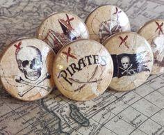 Handmade Pirate Knobs Drawer Pull Set, 6 Fun Nautical Knobs, Jolly Roger, Ship