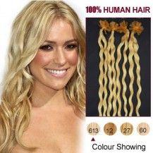 "20"" Bleach Blonde(#613) 100S Curly Nail Tip Human Hair Extensions 554"