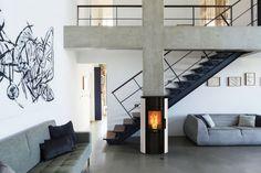 A modern design for a living room, with a Nordic Fire pellet fireplace. Pellet Fireplace, Pellet Stove, Modern Design, Divider, Living Room, Furniture, Home Decor, Decoration Home, Room Decor