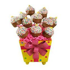 Cake Pop Birthday Bouquet   This one dozen cupcake cake pop birthday bouquet contains the most adorable treats. Our cake pops have a secret combination of ingredients to make them insanely delicious.