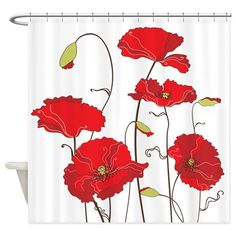 Red Poppies Shower Curtain on CafePress.com
