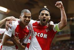 Kylian Mbappe (left) celebrates with Radamel Falcao after breaking the deadlock