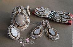 """Купить """"Рандеву"""" - бежевый, пастель, нежное украшение, комплект браслет и серьги, авторская ручная работа"""