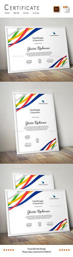 A Great Creative Colorful Certificate Template for Creative Person.Features: Easy to Edit CMYK Color 300 DPI High Resolution Size ( bleed setting) Print Ready Format Free Fonts Files Includes: 2 Ai Stationery Printing, Stationery Templates, Stationery Design, Powerpoint Program, Powerpoint Template Free, Certificate Design, Certificate Templates, Stencil Templates, Print Templates