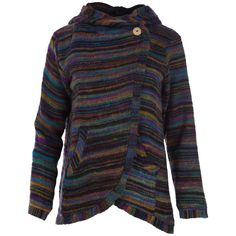 Shades of the setting sun create lines of captivating color on this cozy wrap jacket. Make from thick wool and polyester, this wrap is a toasty warm way to show off your style. Keep the chill at bay with the large front pockets and hood to keep your