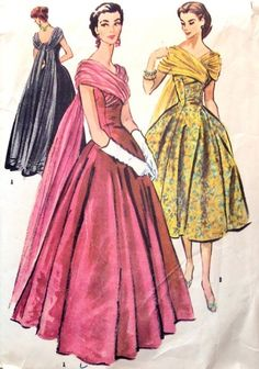 1950s ballgown.  SO gorgeous.  This is the pattern front of OOP McCalls 3817.