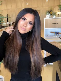emily gemma hair extensions, straight hair brunette balayage, hair by chrissy hair art Best Hair Products for 2019 Haircuts For Long Hair, Curled Hairstyles, Straight Hairstyles, Cool Hairstyles, Very Long Hair, Braids For Long Hair, Creative Hair Color, Blowout Hair, Brunette Hair