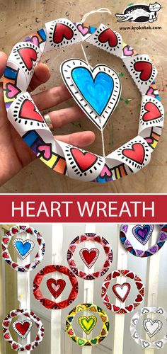 Valentine Crafts For Kids, Valentines Day Activities, Valentine Day Crafts, 2nd Grade Art, Art Activities, Children Activities, Heart Wreath, Classroom Crafts, Art Lessons Elementary