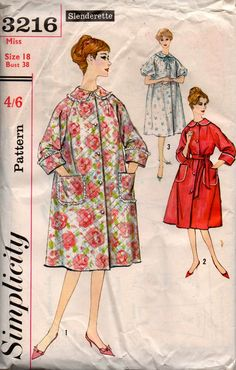 Simplicity 3216 Womens Plus Size Robe Dressing Gown 60s Vintage Sewing Pattern Size 18 Bust 38 inches UNCUT Factory Folded